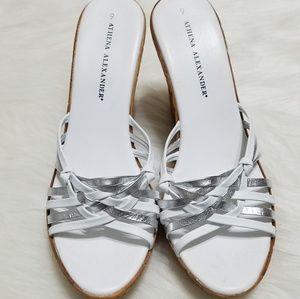 Athena Alexander Shoes - Athena Alexander Open Toe Wedges White and Grey 9